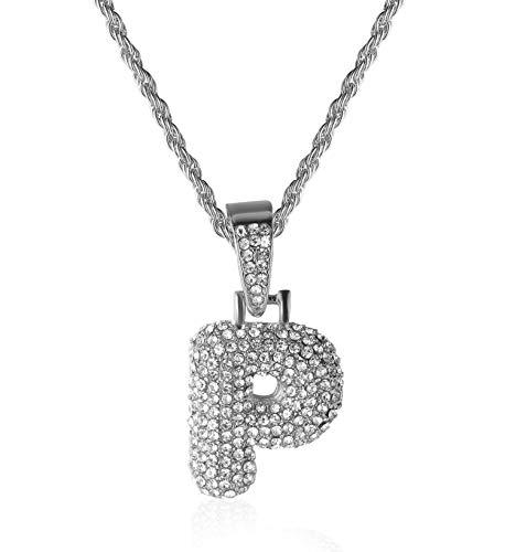 Halukakah Goldkette mit Blasenbuchstabe P Iced Out,Initiale Halskette Herren Platin Vergoldet mit Seilkette 60cm,KOSTENLOSE Geschenkbox