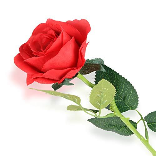 Rose artificielle unique, Ffleur artificielle en soie de haute qualité Rose rouge, Décoration de salon décoration de table décoration de fleurs en soie
