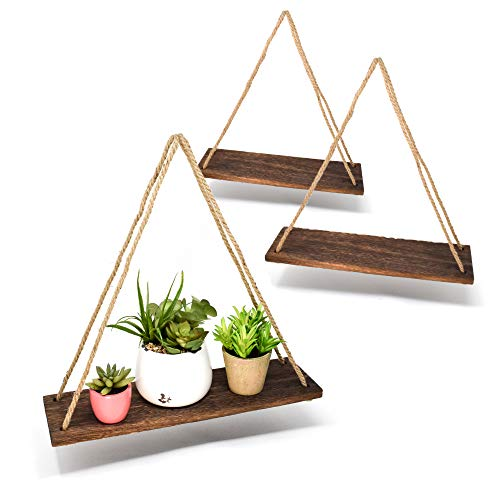 Boho Wall Hanging Shelf - Wood Hanging Shelves for Wall - Farmhouse Rope Shelves for Bedroom Living Room Bathroom - Rustic Wood Shelves - Hanging Plant Shelf - Triangle Floating Shelf (Triangle Mount)
