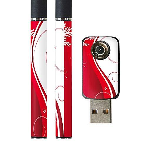 igsticker プルームテック Ploom TECH 専用スキンシール バッテリー スティック USB充電器 カバー ケース 保護 フィルム ステッカー スマコレ 005596 フラワー 赤 レッド 結晶