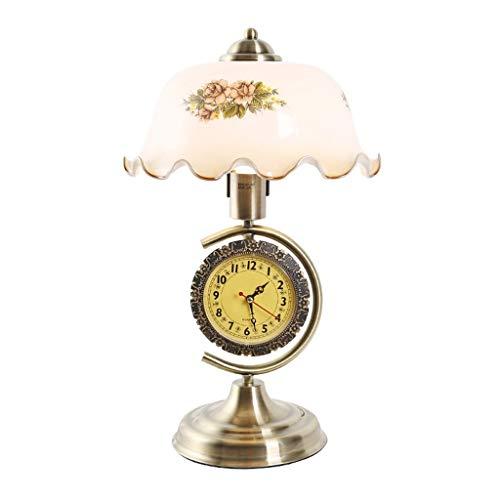 WZHZJ Lámpara de Mesa Dormitorio lámpara de Noche salón luz Nocturna hogar Retro con Reloj Hierro lámpara de Vidrio