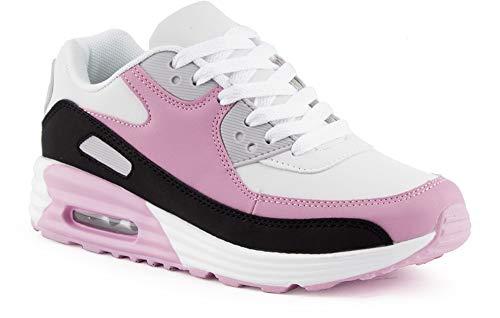 Fusskleidung Herren Damen Sportschuhe Dämpfung Neon Sneaker Laufschuhe Runners Gym Unisex Schwarz Pink Weiss EU 38