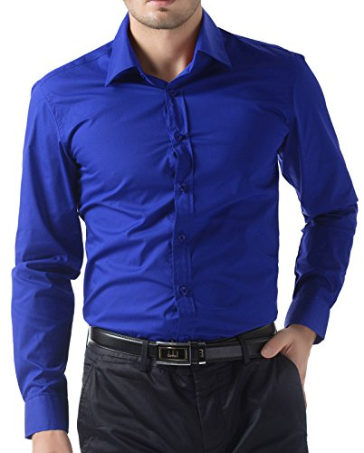 H2H Mens Casual Button-Down Slim Fit Roll-up Sleeve Shirts Plaid Color Patterned Navy US 2XL/Asia 3XL (KMOBL046)