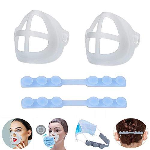 WLMall Kieselgel Halterung, 3D Holder (2 PCS) + Silicone Extension Band (2 PCS), Waschbar Wiederverwendbar Lippenstift Schutzständer