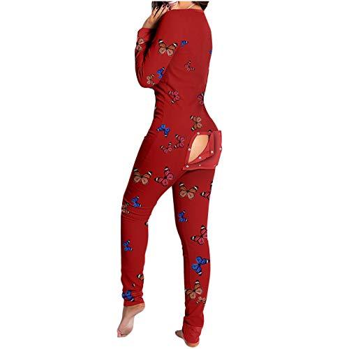 Sinifer Women's Onesies Thermal Butt Flap Pajamas Union Suit One Piece V-Neck Long Sleeve Pjs Jumpsuit Rompers Bodysuit Butterfly Watermelon(J-Red L)