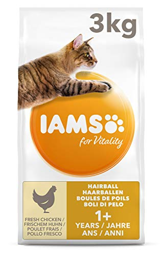 IAMS for Vitality Adult Katzenfutter trocken Anti-Haarballen mit frischem Huhn 3kg