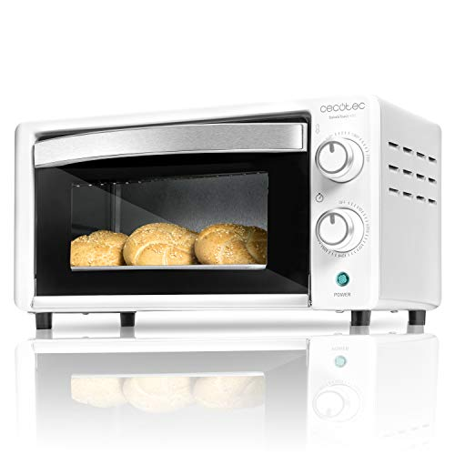 Cecotec Horno Sobremesa Bake&Toast 490. Capacidad de 10 litros, 1000 W, Temperatura hasta 230ºC y Tiempo hasta 60 Minutos, Perfecto para Panini y Bollería, Incluye Bandeja Recogemigas