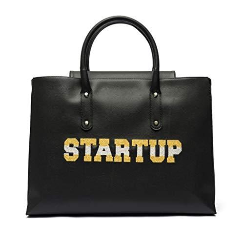 Startup handtas voor dames met glitter-schouderriem, groot, Bor069, eenheidsmaat, hoofdkleur zwart