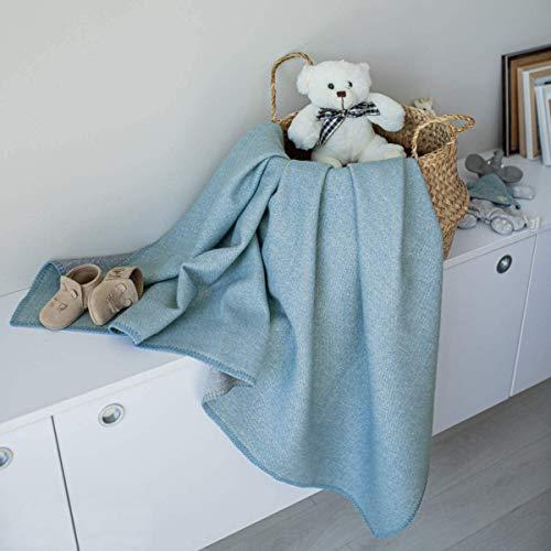 Linen & Cotton Doubleface Babydecke Merino Wolle für Junge Mädchen Santino - 100% Merinowolle, Blau Grau (75 x 100 cm) Leichte Dünne Kuscheldecke Baby Sommer Winter Kinderwagen Babyschale Babybett