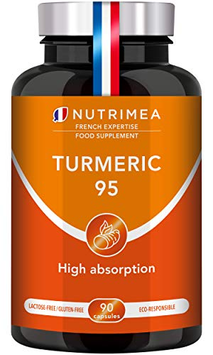 Natural Turmeric Curcumin & Black Pepper - High Strength and Absorption - Natural Anti-inflammatory - Joint Fuel and Pain Relief - Vegan - French Expertise