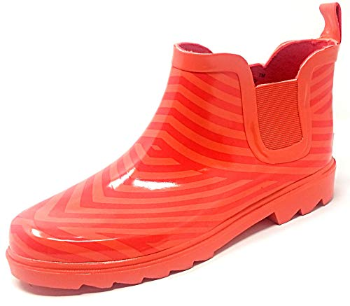 "Women Rubber Rain Boots - 5"" Ankle Rain Boots for Women, Waterproof Garden Boots, Orange/Red, Size 9"