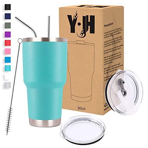 Y·JH 30oz (850ml) Vaso de Viaje de Taza de café con Aislamiento al vacío de Doble Pared Taza de café de Acero Inoxidable con 2 Tapas a Prueba de Salpicaduras, 2 pajitas, sin BPA - Turquesa