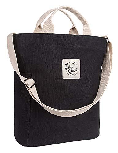 Lily Queen Women Crossbody Canvas Tote Casual Shoulder Purse Bag Durable (Black)