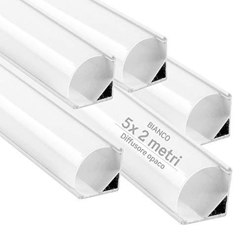 5x Profili Angolari da 2 metri (10mt) in Alluminio Bianco per Strisce LED Copertura Opaca ingombro max striscia led 10.5mm - 15.8 x 15.8