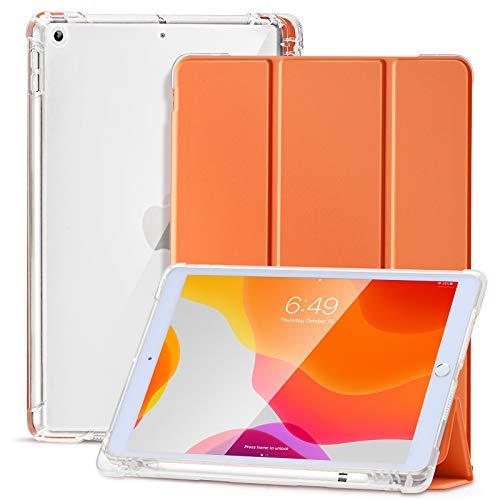 SIWENGDE Hülle für iPad 8.Generation 2020/7.Generation 2019,Schlankes weiches TPU Durchscheinend Mattiert Zurück Schutz hülle für iPad 10,2 Zoll mit Stifthalter,Auto Wake/Sleep(Vitalität orange)