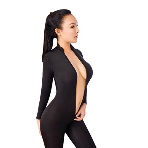 HCFKJ Mode Damen Frauen Dessous Nachtwäsche Lace Damen G-String Unterwäsche Babydoll Nachtwäsche (One Size, Schwarz # Open & Flexibilität) (One Size, Schwarz)