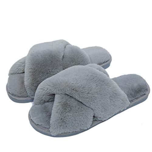 Fadezar Hausschuhe Damen Plüsch Pantoffeln Warme rutschfeste Flache Flip Flop Bequeme Filzhausschuhe für Damen 40-41 Grau