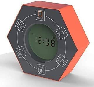 Hexagon Rotating Timer, 5, 15, 30, 45, 60 Minute Preset Countdown Timer (Orange)