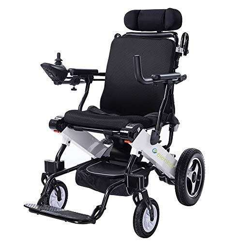 ELENKER 2020 Electric Wheelchair, Foldable Powered Wheel Chair, 15 Miles Battery Life with Headrest for Home Outdoor