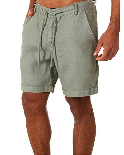 ORANDESIGNE Pantalones Cortos Deportivos de algodón para Hombres Verano Bermuda Sweatpant Pantalon Pijama Corto Salón Pantalones Cortos Deportivos Fitness Bolsillos Running Shorts A Verde L