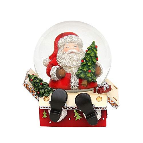 Bella Palla Di Vetro Con Neve, Con Base A Forma Di Scatola E Babbo Natale, Circa 9 X 9 Cm/ Ø 6,5 Cm