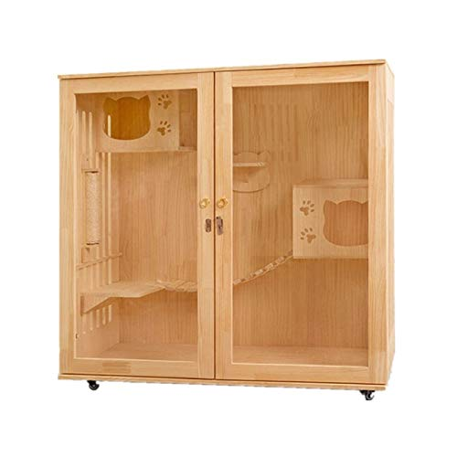 Jaula para gatos Solid Wood House Cat Cat Cat Villa Gabinete de...