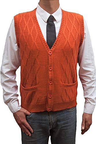 TINKUY PERU - Peruvian Alpaca Wool - Vest for Men Basic V Neck Button Up Cardigan Sweater - Ocher (Small)