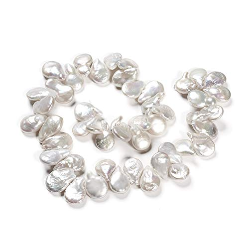 1 hebra lágrima natural Keshi perlas cultivadas perlas de agua dulce perlas sueltas color lino 12 ~ 16 mm para bricolaje collar pulsera pendientes joyería haciendo alrededor de 46 ~ 50 piezas/hebra