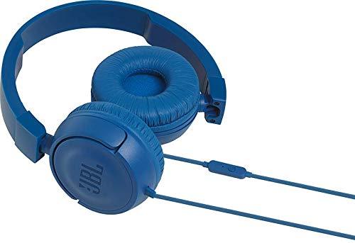 JBL T450 Cuffie Sovraurali, Cuffia On Ear con Microfono e Comando Remoto ad 1 Pulsante, JBL Pure Bass Sound, Leggere e Pieghevoli, Da Viaggio, Blu