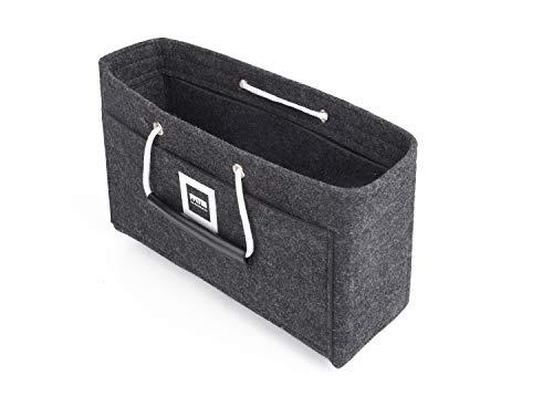 FFITIN Filz Organizer für Handtaschen-Handtaschenorganizer-Reisetasche mit Tragegriffen-Für Chanel Flap Maxi,Louis Vuitton Graceful PM [28 x 16 x 8 cm, Midnight Grey]