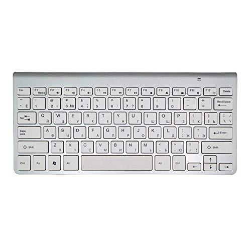 Teclado De Teclado Inalámbrico Ultra Slim Mute 2.4G Teclado para Mac Windows XP 8 7 10 Vista Android TV Box (Color : Silver)