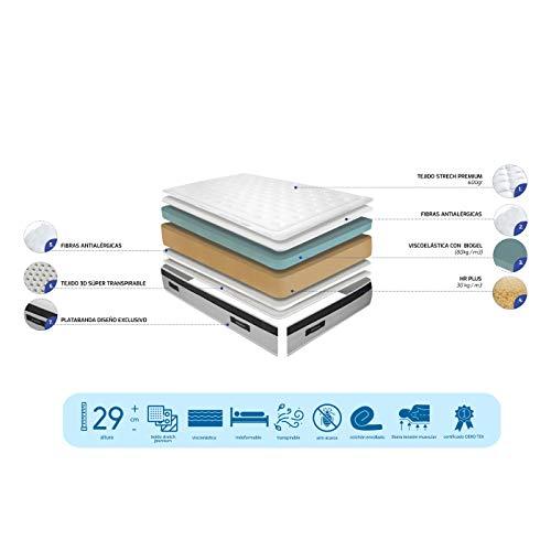 Duérmete Online - Colchón Viscoelástico Nature Biogel | Altura 29cm | Confort Máximo | Tejido Termorregulador, 135x190