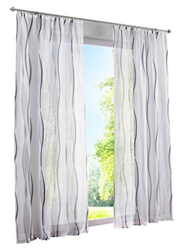 BAILEY JO 1er-Pack Gardinen mit Wellen Druck Design Vorhang Transparent Voile Vorhänge (BxH 140x175cm, grau mit Kräuselband)
