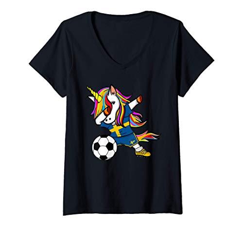 Mujer Unicornio Dabbing Unicorn Suecia Fútbol Bandera Sueca Camiseta Cuello V