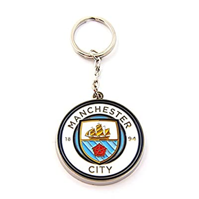 Manchester City FC Official Metal Football/Soccer Crest Keyring (One Size) (White/Blue)
