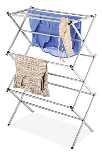 House of Quirk 3-Tier Folding Anti-Rust Compact Steel Clothes Drying Rack (14.5