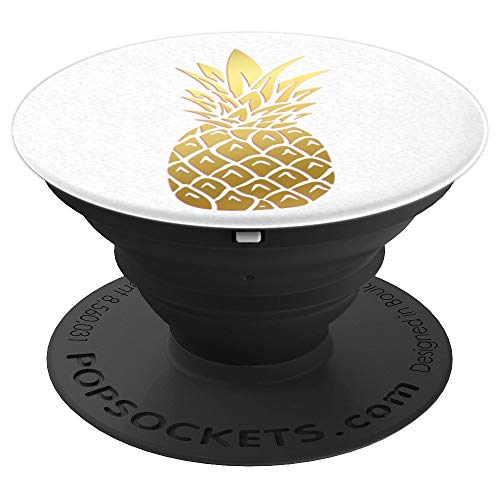 Golden Pineapple on white PopSockets Grip and Stand for Phones and Tablets