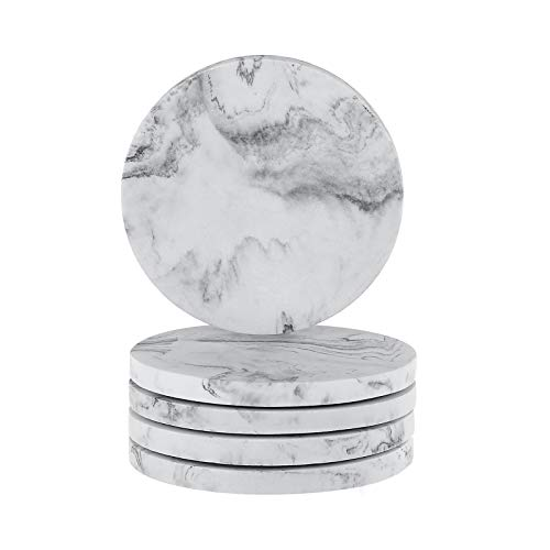 YININE Drink Coasters, Resin Marble Style Coasters for Drinks 4 Inches Set of 5, Decorative Cup Mat Pot Saucers for Coffee Mugs Glass Cups Office Desk Coffee Table Dining Table Housewarming Gifts