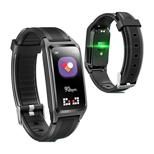APCHY 2021 Pulseras Smart Watch Reloj Inteligente Fitness Tracker Monitor de Frecuencia Cardíaca Medidor de Oxígeno En Sangre Seguimiento de Pasos de Sueño Compatible con iOS Android,Negro