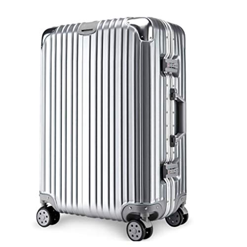 HUANGA HUANGDA Valigia Trolley Universale Wheel Net Valigia Rossa 20 Student Female 26 Password Box 24 Leather Box 22 Pollici (Color : Silver, Dimensione : 20 inches50*36 * 23CM)