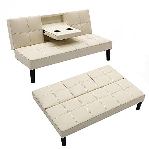 Mingone Schlafsofa mit Ausklappbar Tisch Sofa mit Schlaffunktion 3 Sitzer Sofabett Kunstledersofa Verstellbarer Winkel Schlafsessel (Beige, 150 x 82,5 x 75 cm)