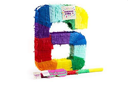 Trendario Zahl 6 Pinata Set, Pinjatta + Stab + Augenmaske, Ideal zum Befüllen mit Süßigkeiten und Geschenken - Piñata für Kindergeburtstag Spiel, Geschenkidee, Party, Hochzeit