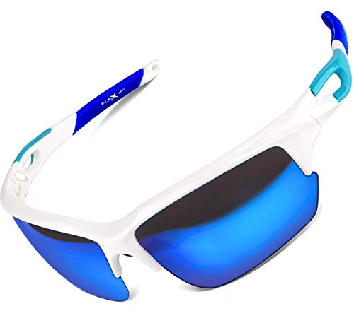 FLEX Polarized Sports Sunglasses for Men & Women. Ultra Tough Lightweight Frame w/ HD lens for Cycling Driving Fishing Golf (White, Mirrored Blue)