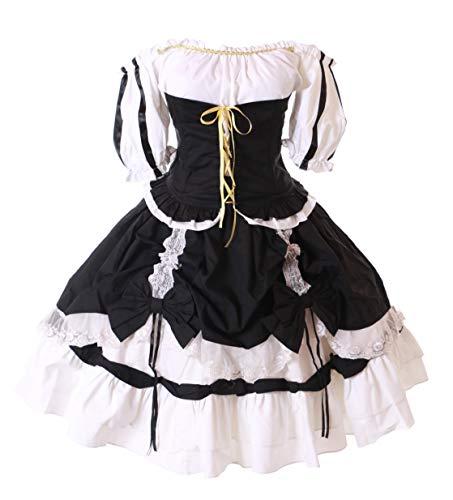 Kawaii-Story JL-672 Love Nikki 3-TLG. Set schwarz Schleifen Rüschen Anime Gothic Lolita Kleid Kostüm Cosplay (XXL)