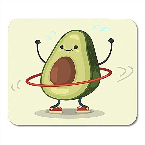 Mauspads Nette Avocado Zeichentrickfilm Figur,die Übungen tut Hula Hoop Essen gesund und Eignung flaches Retro Mousepad für Laptop,Tischrechner Bürozubehöre Mauspads 30X25CM