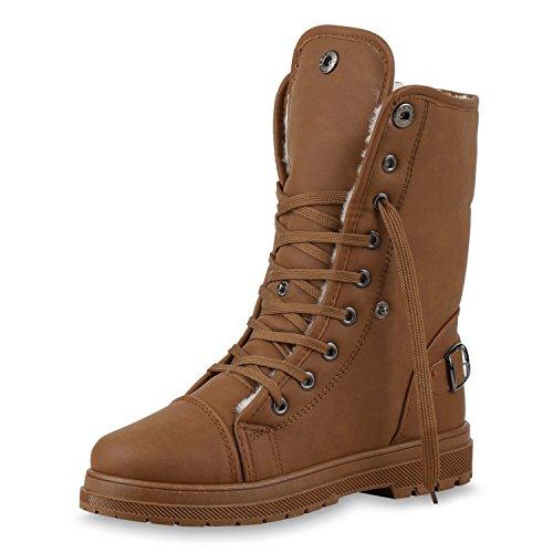 SCARPE VITA Warm Gefütterte Damen Stiefeletten Worker Boots Outdoor Schuhe 150386 Braun Braun Schnallen 39