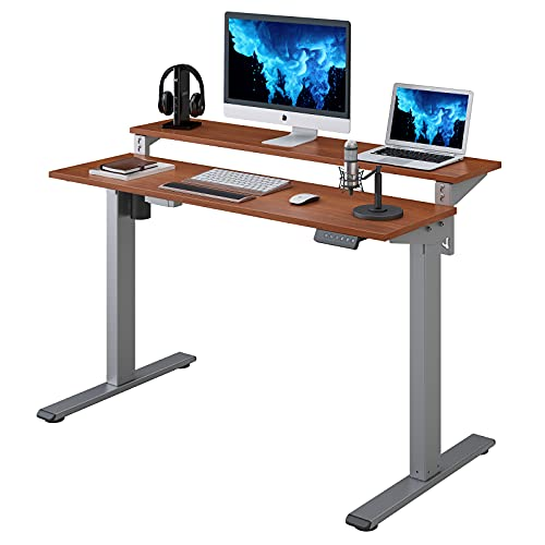Flexispot EF1 2 Tier Standing Desk 48 in Electric Height Adjustable Computer Desk with Adjustable Shelf Dual Tier Stand Up Desk Memory Controller for Home Office (Silver Frame + Mahogany Top)