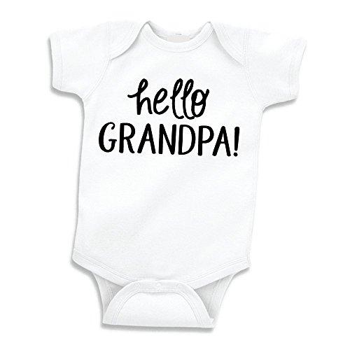Bump and Beyond Designs Surprise Pregnancy Announcement for Grandpa Hello Grandpa (White 0-3 Months)