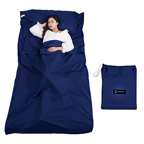 Queta Hüttenschlafsack Schlafsack Reiseschlafsack mit Tragetasche Ideal für Innen Hostels Berghütten Jugendherbergen Camping Outdooraktivitäte usw. (Mondlichtblau)