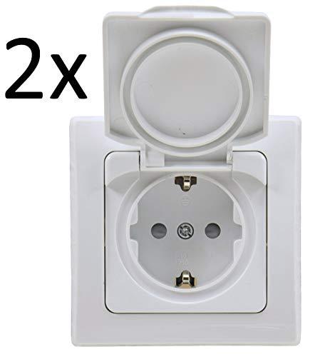 DELPHI Schutzkontakt Steckdose mit Klapp-Deckel IP44 I inkl. Rahmen 230V I Für Feuchträume und Aussenbereich I 2 Stück Weiß